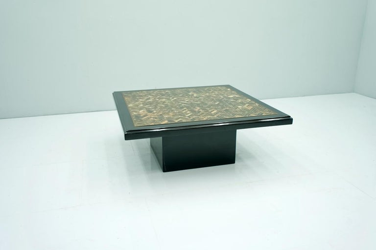 Late 20th Century Black Coffee Table with Horn Inlays, France, 1970s For Sale