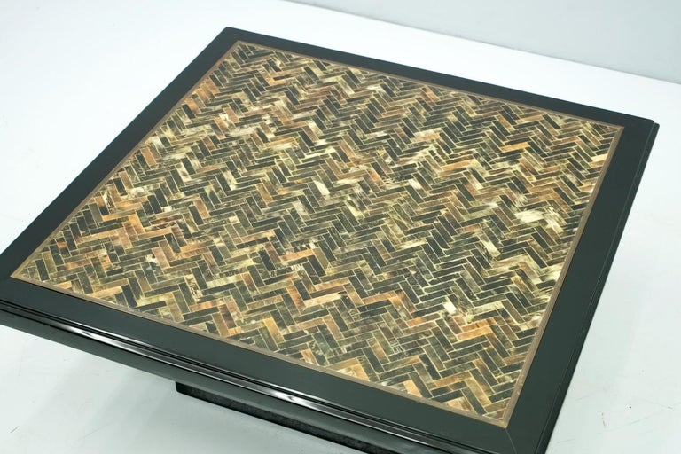 Black Coffee Table with Horn Inlays, France, 1970s For Sale 1