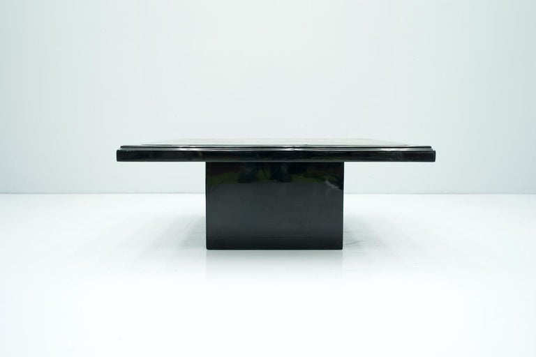 Black Coffee Table with Horn Inlays, France, 1970s For Sale 2