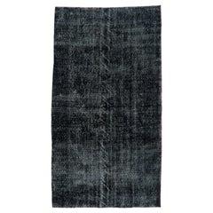 3.7x6.6 Ft Black Color Over-Dyed Distressed Vintage Handmade Turkish Rug