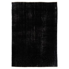 6.6x9.3 ft Distressed Vintage Handmade Turkish Rug Over-dyed in Black