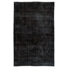 Black Color Re-Dyed Hand-Knotted Turkish Area Rug with Abstract Design