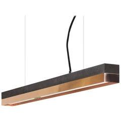 Black Concrete and Copper Pendant Light, Medium Contemporary Table Light
