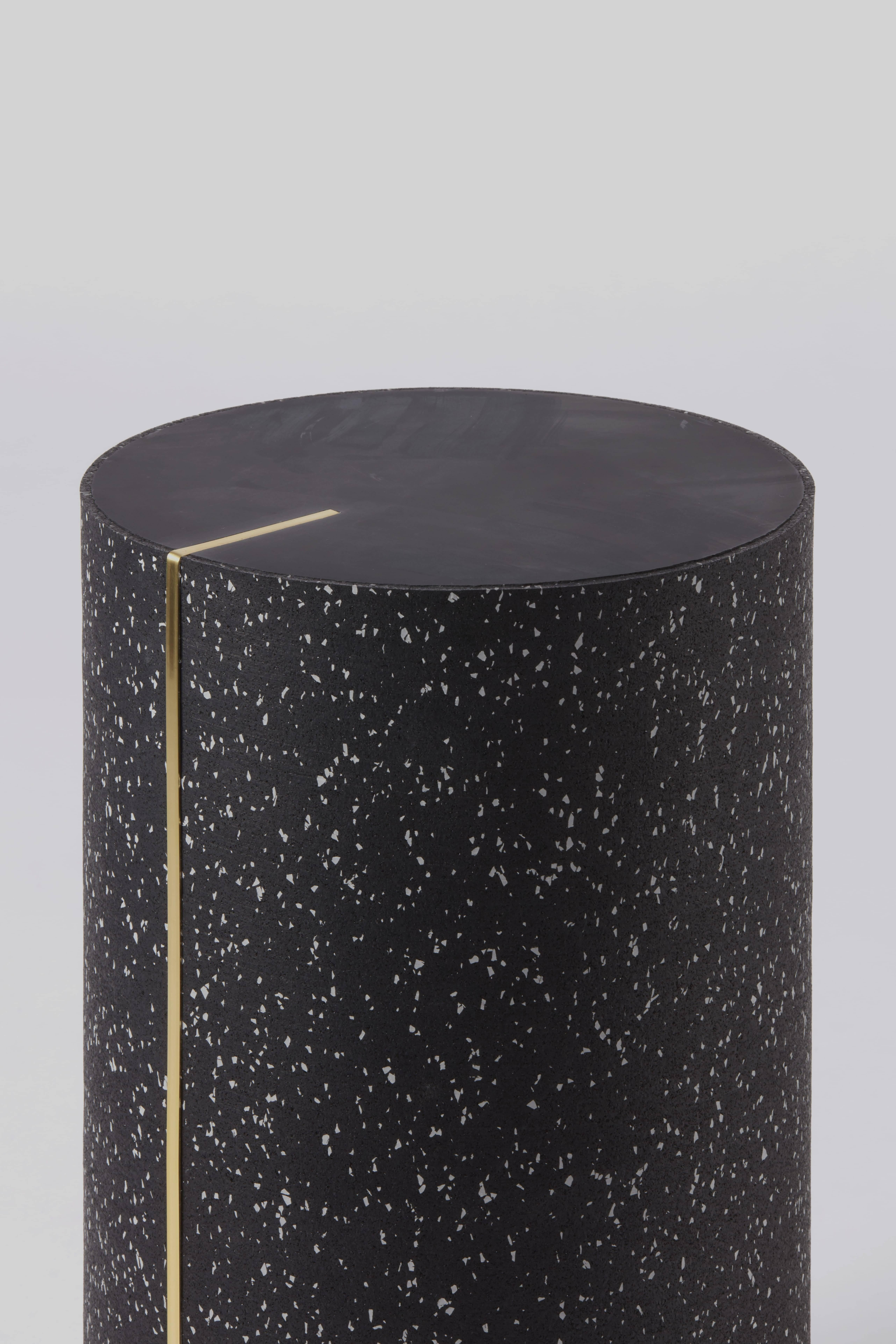 Fabulous Black Concrete Rubber Cyl Side Table With A Brass Inlay Spiritservingveterans Wood Chair Design Ideas Spiritservingveteransorg
