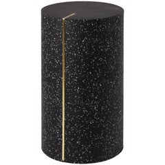 Black Concrete Rubber CYL Side Table with a Brass Inlay