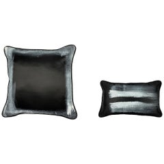 Black Contemporary Delicately Hand-Painted White-Edged Throw Pillows