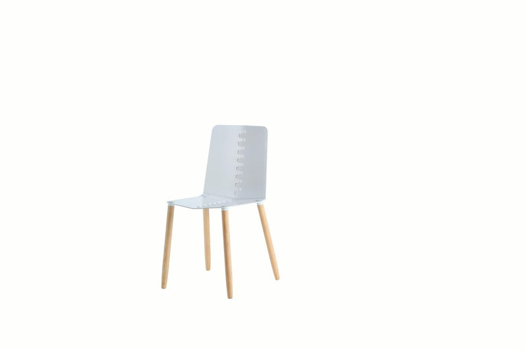 Black Contemporary Minimal Modern Powder-Coated Aluminum and Wood Dining Chair For Sale 7