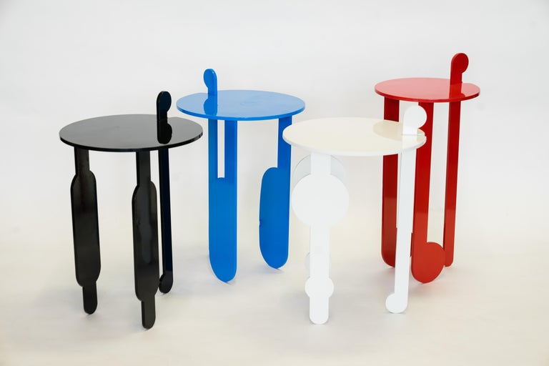 Black Contemporary Powder Coated Steel Poodle Side Tables In New Condition For Sale In Bronx, NY