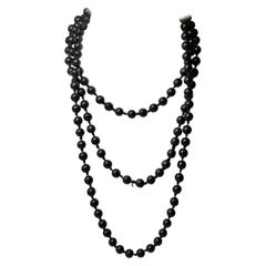 Black Coral Bead Necklace Beads