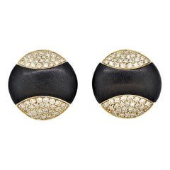 Black-Coral Diamond Gold Round Button Earrings