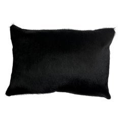 Black Cowhide Pillow, Lumbar Cushion