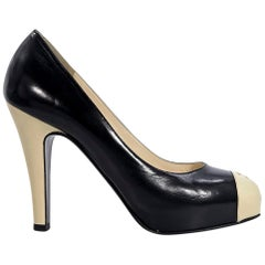 Black & Cream Chanel Leather Platform Pumps