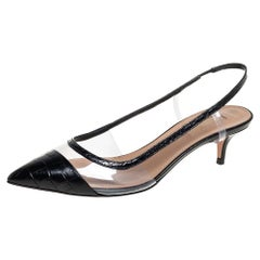 Black Croc Embossed Leather And PVC Temptation Slingback Sandals Size 37