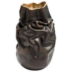 Black Crumpled Form No 10, Ceramic Vessel by Nicholas Arroyave-Portela