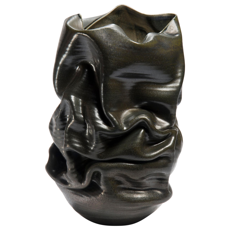 Black Crumpled Form No 18, Ceramic Vessel by Nicholas Arroyave-Portela