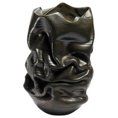 Black Crumpled Form No 18, Ceramic Vessel by Nicholas Arroyave-Portela