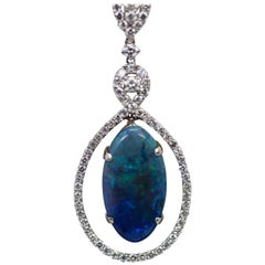 Black Crystal Opal 5.23 Carat Pendant with Diamond Surround