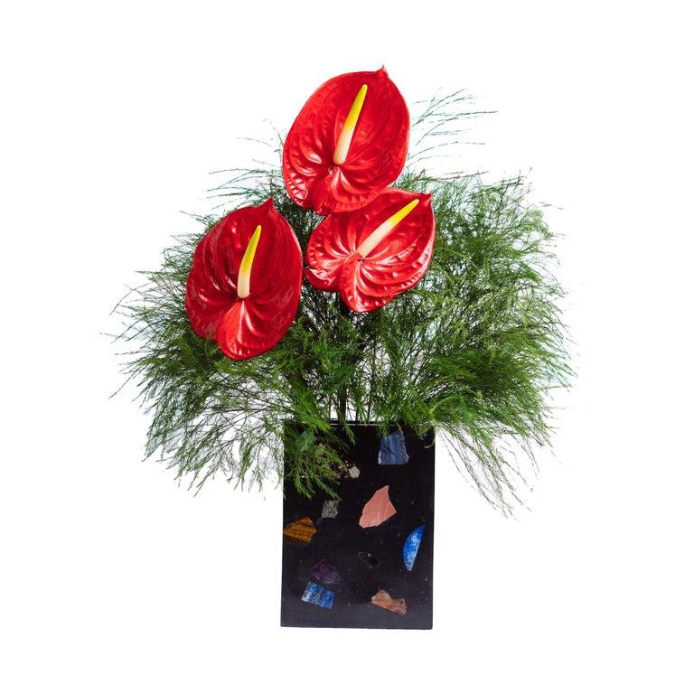 Black Cube Gemstone Terrazzo Vase or Planter For Sale