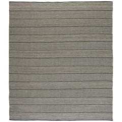 Black Custom Flat-Weave Rug