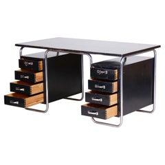 Black Czech Bauhaus Chrome Plated Steel Writing Desk, Made 1930s, Vichr a Spol