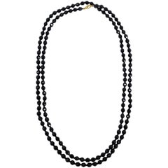 """60"""" Black Czechoslovakian Jet Faceted Crystal Bead Long Rope Necklace, Mid 1900s"""
