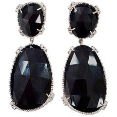 Black Deco Drop Earrings Set with White Diamonds in 18 Karat White Gold
