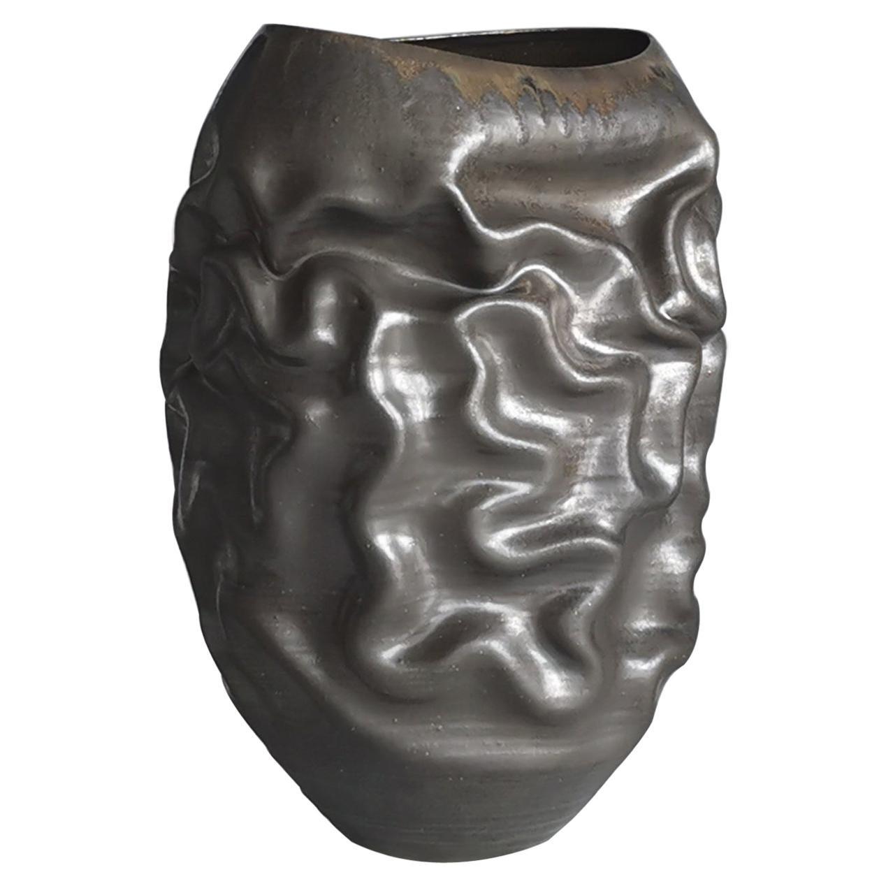 Black Dehydrated Form, Unique Ceramic Sculpture Vessel, Objet d'Art