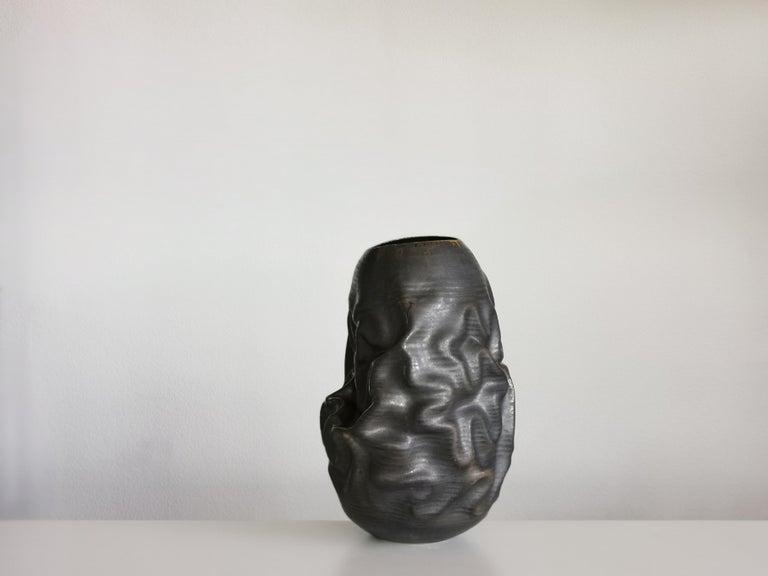 Organic Modern Black Dehydrated Form, Vase, Interior Sculpture or Vessel, Objet D'Art For Sale