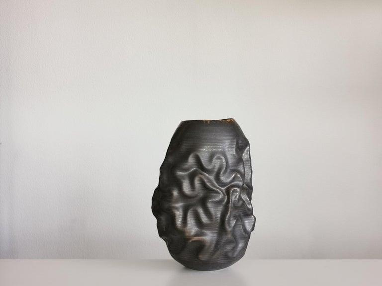 Spanish Black Dehydrated Form, Vase, Interior Sculpture or Vessel, Objet D'Art For Sale