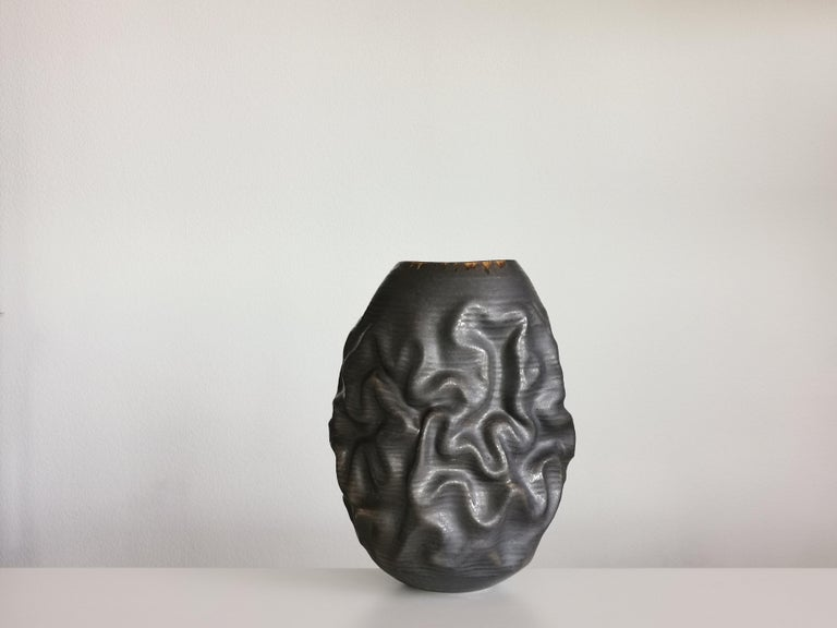 Black Dehydrated Form, Vase, Interior Sculpture or Vessel, Objet D'Art In New Condition For Sale In London, GB