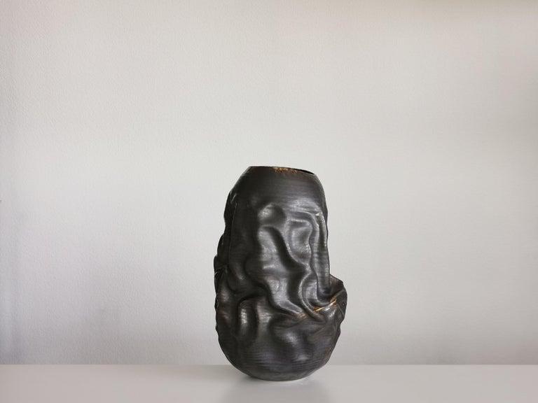 Ceramic Black Dehydrated Form, Vase, Interior Sculpture or Vessel, Objet D'Art For Sale