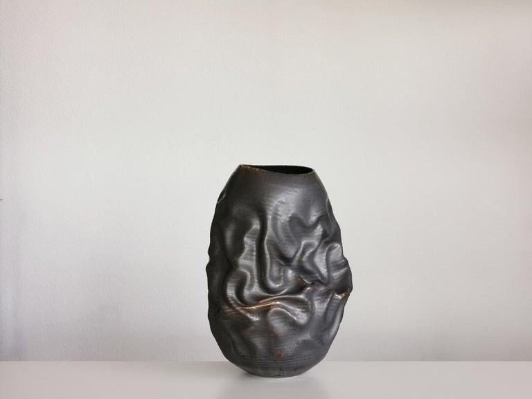 Black Dehydrated Form, Vase, Interior Sculpture or Vessel, Objet D'Art For Sale 1