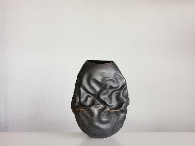 Black Dehydrated Form, Vase, Interior Sculpture or Vessel, Objet D'Art For Sale 2