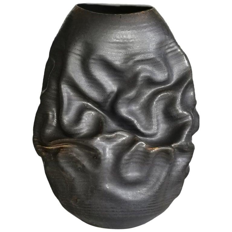 Black Dehydrated Form, Vase, Interior Sculpture or Vessel, Objet D'Art For Sale