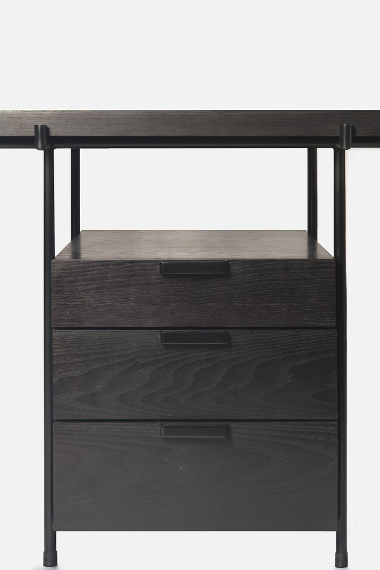 Black Desk Files Drawers, Wood and Metal, Brazilian Mid-Century Modern Style For Sale 4