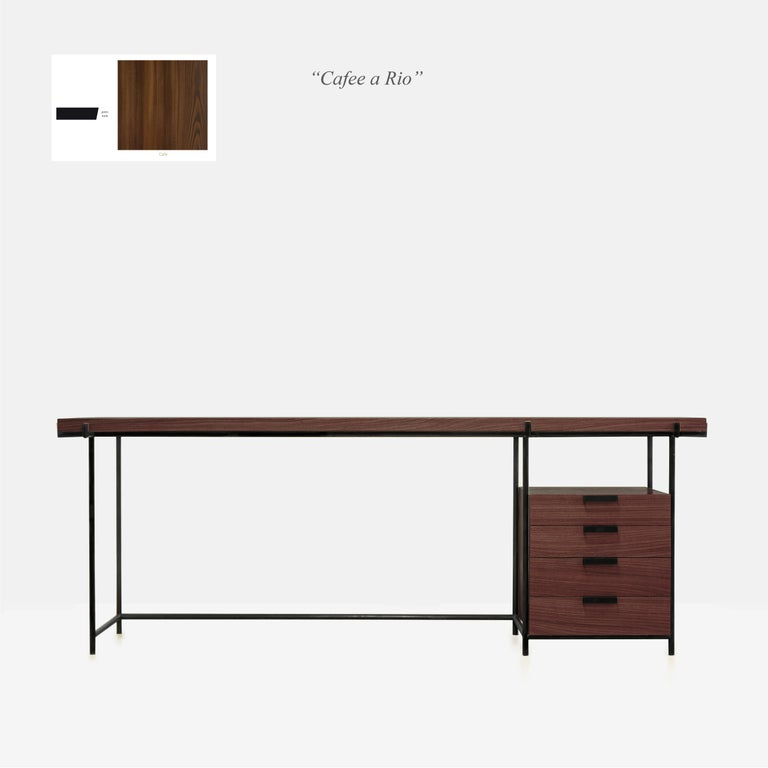 Black Desk Files Drawers, Wood and Metal, Brazilian Mid-Century Modern Style For Sale 9