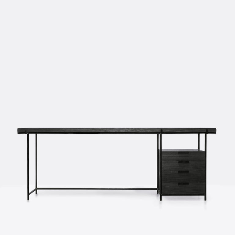Marajoara desk with drawers and files (optional) is a study on Mid-Century Modern utilitarian furniture, with Brazilian Native Arte Reference.  In tribute to Lina Bo Bardi's design, this desk has a mixed esthetic of Mid-Century Modernism with a