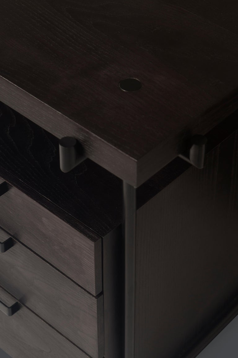 Black Desk Files Drawers, Wood and Metal, Brazilian Mid-Century Modern Style For Sale 2