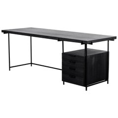 Black Desk with Drawer, Black Wood and Metal Legs, Brazilian Modern Style