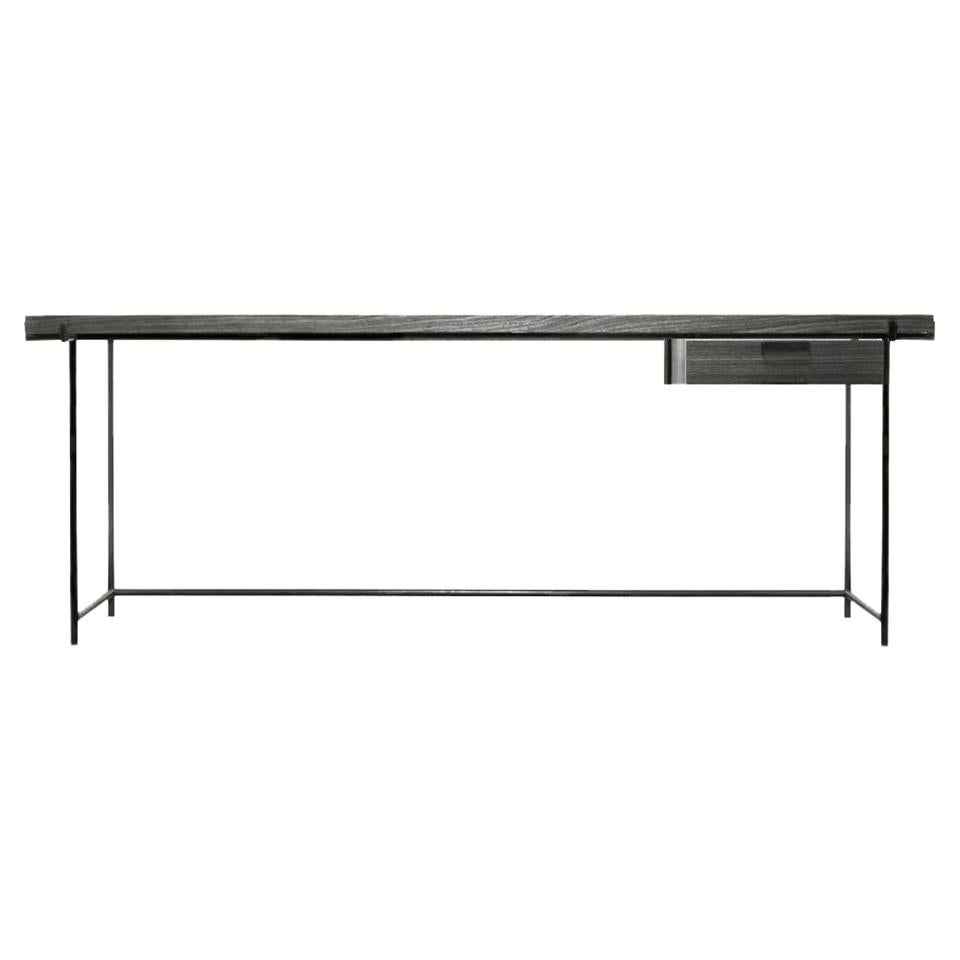 Black Desk with Drawer, Wood and Metal Legs, Brazilian Mid-Century Modern Style