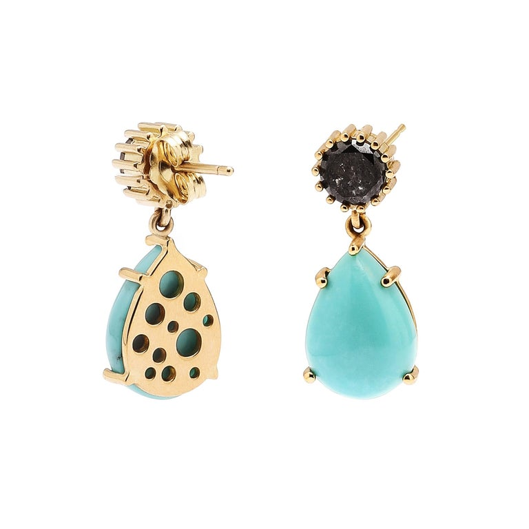 Black Diamond and Pear-Shaped Turquoise Oculus Back Single Drop Earrings