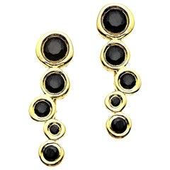 Black Diamond 0.44 Carat 14 Karat Yellow Gold Climber Earrings