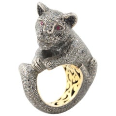 Black Diamond 14 K and Sterling Silver Panther Ring with Ruby Eyes