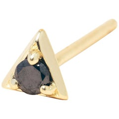 Black Diamond 14 Karat Gold Formation Triangle Mini Stud