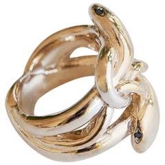 Black Diamond 14 karat Gold Snake Ring Victorian Style J Dauphin
