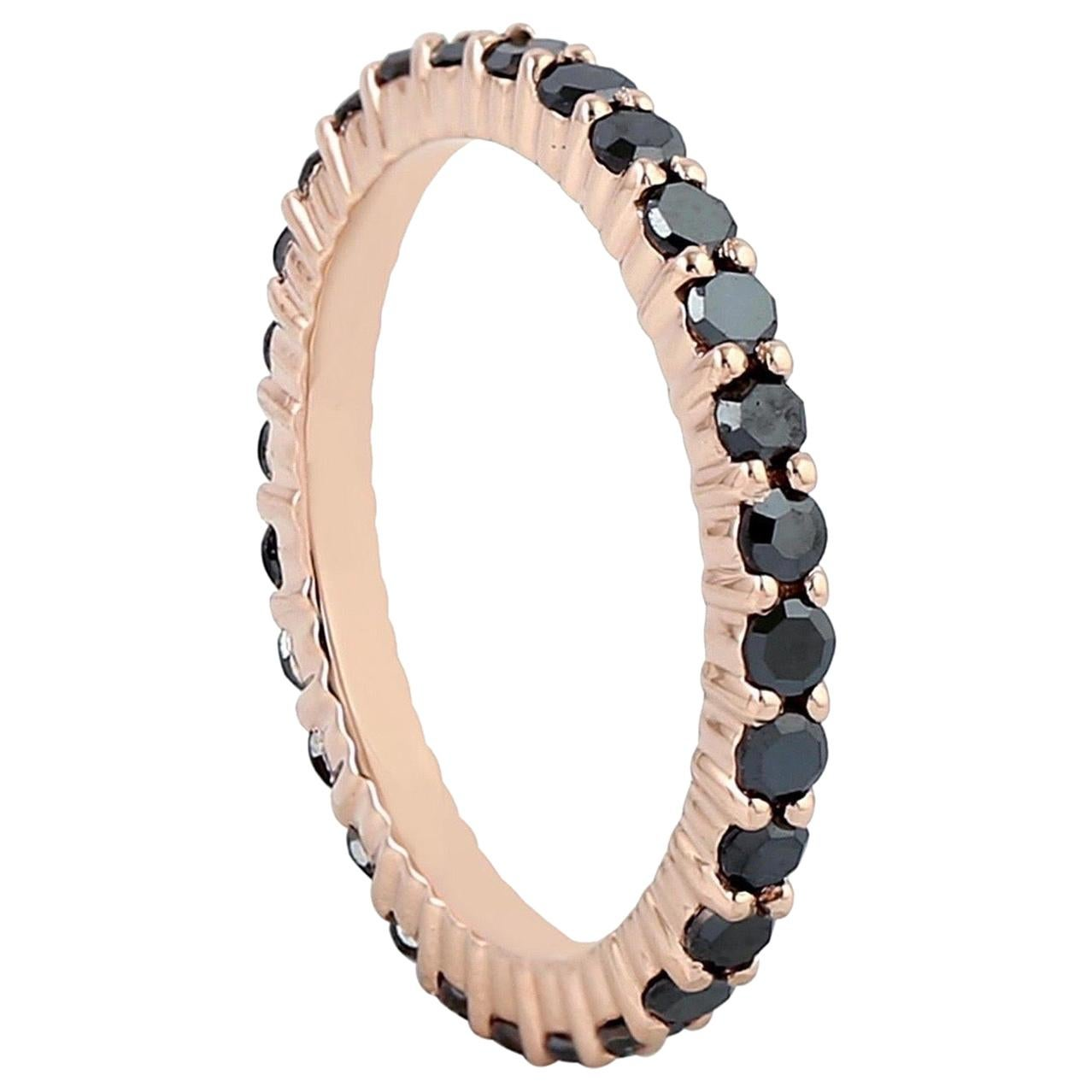 Black Diamond 18 Karat Gold Eternity Ring