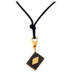 Black Diamond 18 Karat Gold Four Card Charm/Pendant Necklace by Crivelli