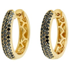 18 Karat Gold Black Diamond Huggie Hoop Earrings