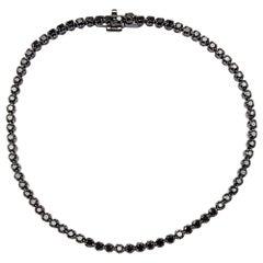 Black Diamond 18 Karat White Gold Black Rhodium Tennis Bracelet