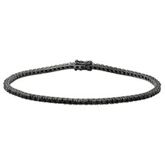 Black Diamond 18 Karat White Gold Tennis Bracelet